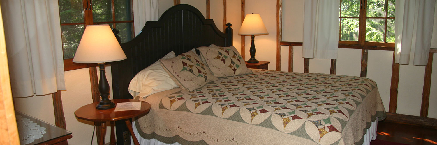 Bedroom in one of the rental cottages